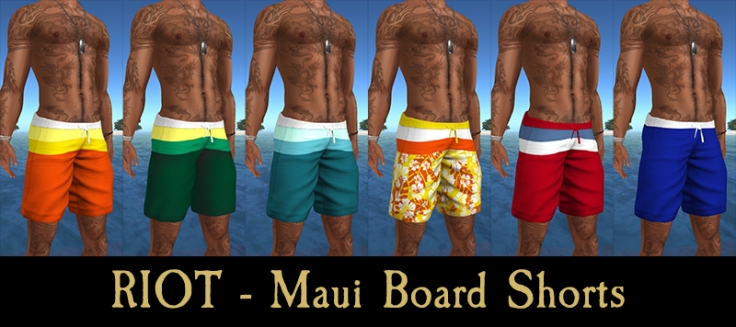 maui board shorts collage